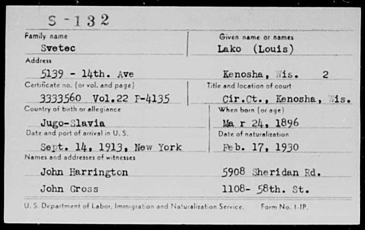 Kartica naturalizacije – dodjele državljanstva za Svetec Lacka (Louis) kojom je 17. veljače 1930. godine dobio državljanstvo SAD-a.