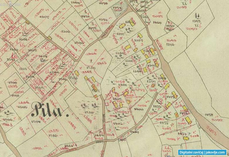 Detalj katastarske karte K.O. Kraljev Vrh na kojoj se vide ucrtane katastarske čestice u Pili među kojima su i katastarske čestice 1396 (precrtano s 2034) i 1397 (precrtano s 2035) koje su pripadale Josipu Mihaljeku