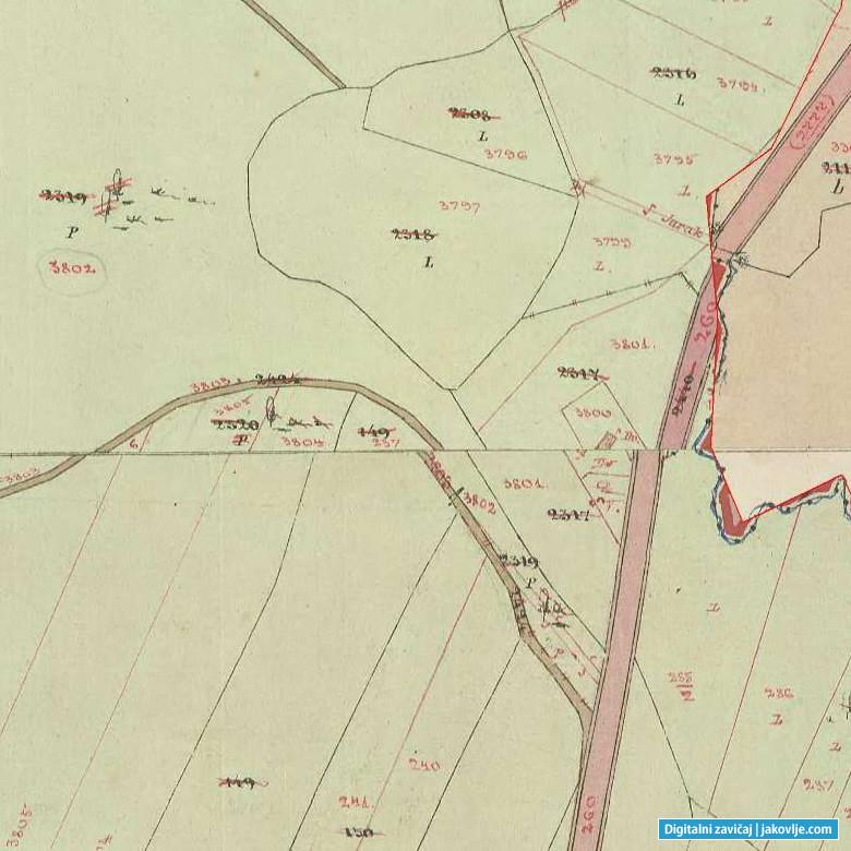 Detalj katastarske karte K.O. Jakovlje na kojoj se vide ucrtane katastarske čestice u vlasništvu Marka Mihaljeka