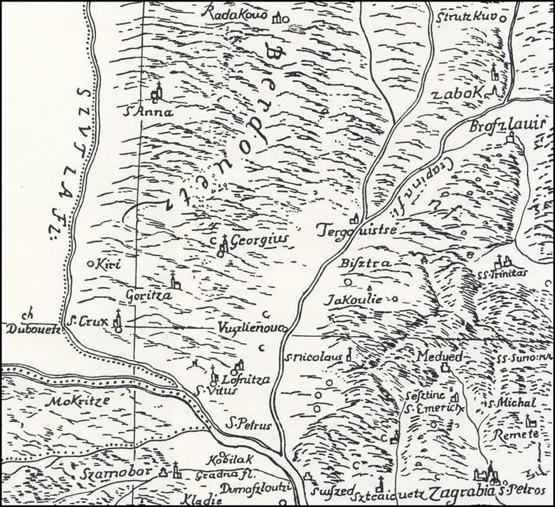 Jakovlje na karti Stjepana Glavača (1673.)