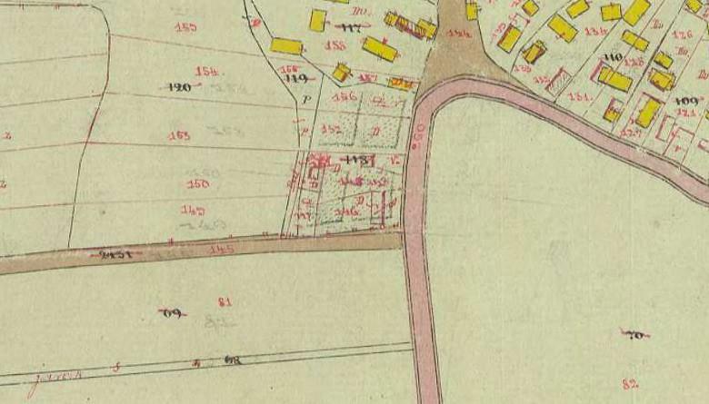Katastarske čestice 146 i 147 na kojima se nalazila kuća obitelji Spitzer