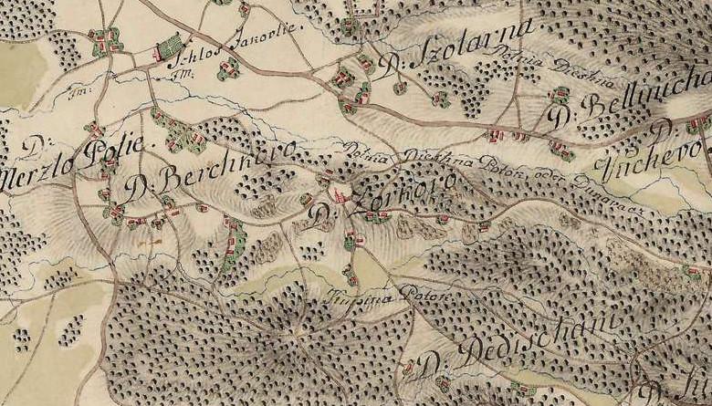 Jakovlje na karti prve vojne izmjere Habsburške monarhije (1764. – 1784.) . Na karti se vidi ucrtan zaseok Zorko i kapela sv. Doroteje